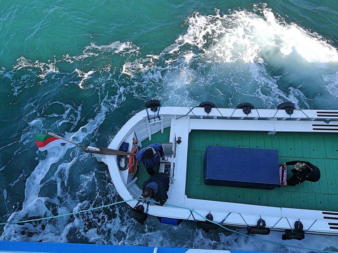 Kurztrip nach Helgoland. Boot von oben