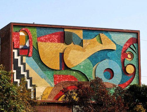 Indien Chandigarh Mosaik-Gebäude
